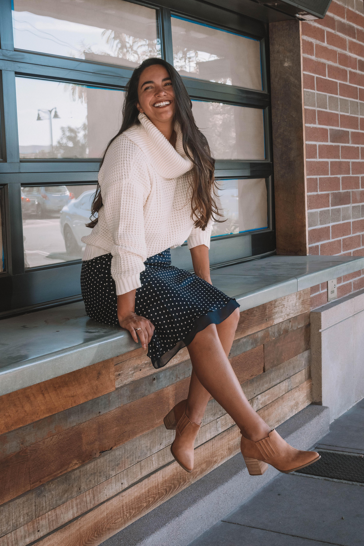 Modcloth Genuine Affection Bootie, Modcloth Oh My Cozy Cowl Neck Sweater, Vintage Silk Polka Dot Midi Skirt